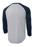 Silver Tr Navy Sport-Tek PosiCharge Baseball Jersey as seen from the back
