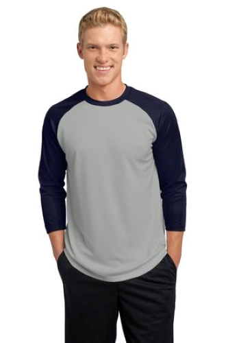 Silver Tr Navy Sport-Tek PosiCharge Baseball Jersey as seen from the front