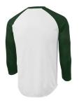 White For Grn Sport-Tek PosiCharge Baseball Jersey as seen from the back