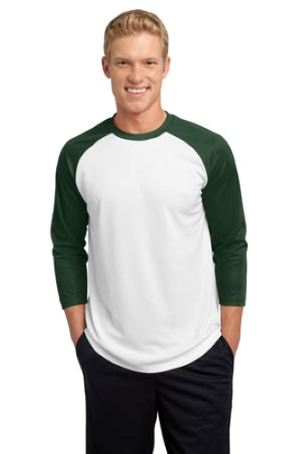 White For Grn Sport-Tek PosiCharge Baseball Jersey as seen from the front