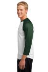 White For Grn Sport-Tek PosiCharge Baseball Jersey as seen from the sleeveleft