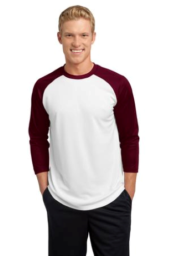 White Maroon Sport-Tek PosiCharge Baseball Jersey as seen from the front