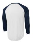 White Tr Navy Sport-Tek PosiCharge Baseball Jersey as seen from the back