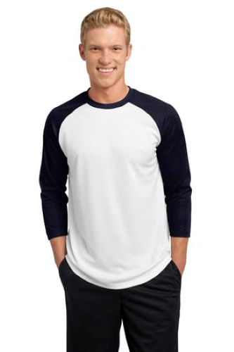 White Tr Navy Sport-Tek PosiCharge Baseball Jersey as seen from the front