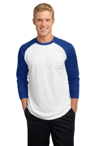 White Tr Royal Sport-Tek PosiCharge Baseball Jersey as seen from the front