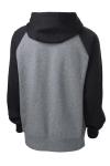 Black Vnt Hthr Sport-Tek Raglan Colorblock Pullover Hooded Sweatshirt as seen from the back