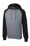 Black Vnt Hthr Sport-Tek Raglan Colorblock Pullover Hooded Sweatshirt as seen from the front