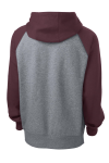 Maroon Vnt He Sport-Tek Raglan Colorblock Pullover Hooded Sweatshirt as seen from the back