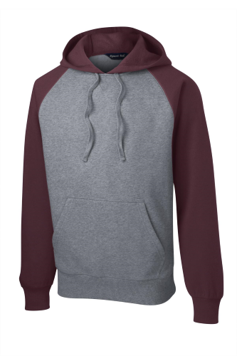 Maroon Vnt He Sport-Tek Raglan Colorblock Pullover Hooded Sweatshirt as seen from the front