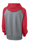 Tr Red Vnt He Sport-Tek Raglan Colorblock Pullover Hooded Sweatshirt as seen from the back