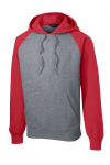 Tr Red Vnt He Sport-Tek Raglan Colorblock Pullover Hooded Sweatshirt as seen from the front