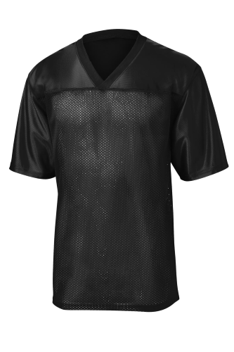 Black Sport-Tek PosiCharge ™ Replica Jersey as seen from the front