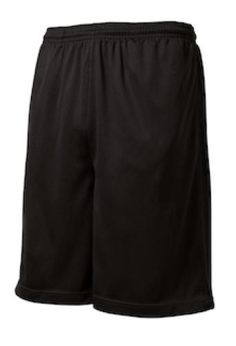 Black Sport-Tek PosiCharge Tough Mesh Pocket Short as seen from the front