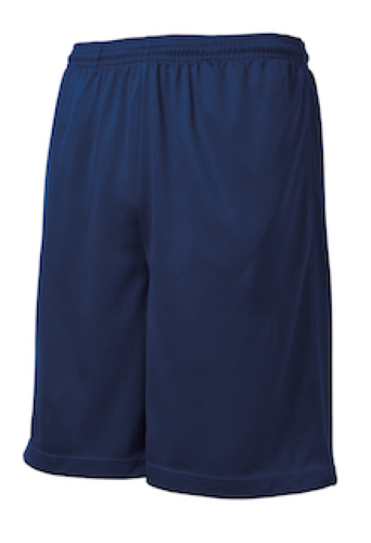 True Navy Sport-Tek PosiCharge Tough Mesh Pocket Short as seen from the front