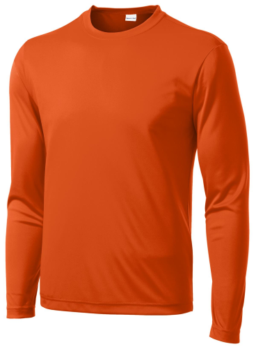Deep Orange Sport-Tek Long Sleeve Competitor Tee as seen from the front