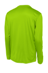 Lime Shock Sport-Tek Long Sleeve Competitor Tee as seen from the back
