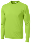Lime Shock Sport-Tek Long Sleeve Competitor Tee as seen from the front