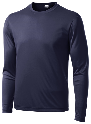 True Navy Sport-Tek Long Sleeve Competitor Tee as seen from the front
