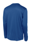 True Royal Sport-Tek Long Sleeve Competitor Tee as seen from the back