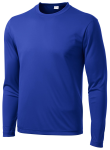 True Royal Sport-Tek Long Sleeve Competitor Tee as seen from the front