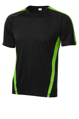 Black Lime Shk Sport-Tek Colorblock Competitor Tee as seen from the front