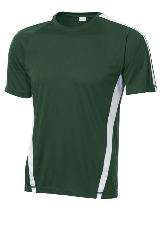 For Grn White Sport-Tek Colorblock Competitor Tee as seen from the front