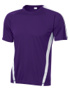 Purple White Sport-Tek Colorblock Competitor Tee as seen from the front