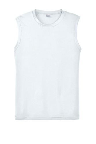 White Sport-Tek Sleeveless Competitor Tee as seen from the front