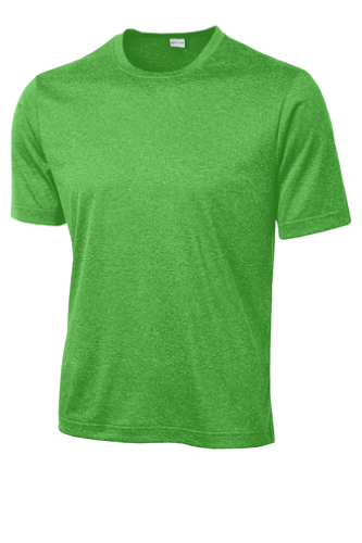 Turf Grn Hthr Sport-Tek Heather Contender Tee as seen from the front
