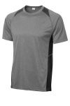 Vtghthr Black Sport-Tek Heather Colorblock Contender Tee as seen from the front