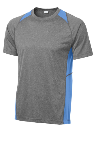 Vtghthr Car Bl Sport-Tek Heather Colorblock Contender Tee as seen from the front