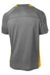 Vtghthr Gold Sport-Tek Heather Colorblock Contender Tee as seen from the back