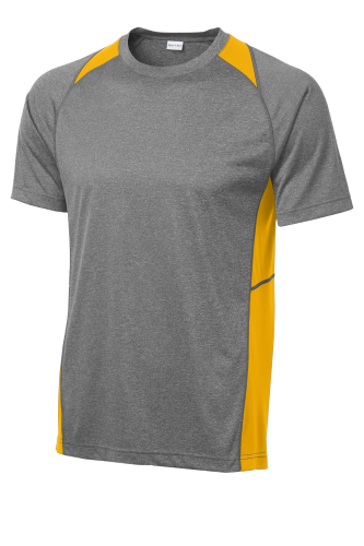 Vtghthr Gold Sport-Tek Heather Colorblock Contender Tee as seen from the front