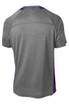 Vtghthr Purple Sport-Tek Heather Colorblock Contender Tee as seen from the back