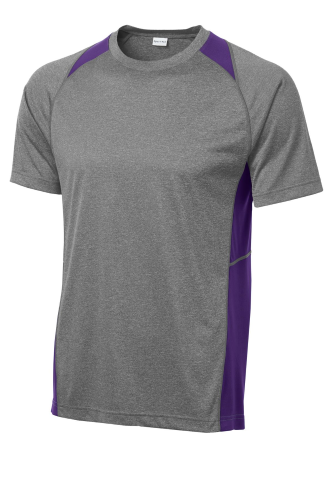 Vtghthr Purple Sport-Tek Heather Colorblock Contender Tee as seen from the front