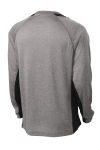 Vnt He Black Sport-Tek Long Sleeve Heather Colorblock Contender Tee as seen from the back