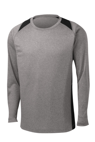 Vnt He Black Sport-Tek Long Sleeve Heather Colorblock Contender Tee as seen from the front