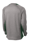 Vnt He For Grn Sport-Tek Long Sleeve Heather Colorblock Contender Tee as seen from the back