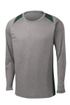 Vnt He For Grn Sport-Tek Long Sleeve Heather Colorblock Contender Tee as seen from the front