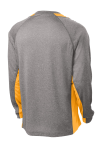 Vnt He Gold Sport-Tek Long Sleeve Heather Colorblock Contender Tee as seen from the back