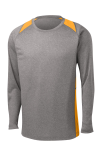 Vnt He Gold Sport-Tek Long Sleeve Heather Colorblock Contender Tee as seen from the front