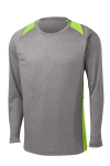 Vnt He Lime Sh Sport-Tek Long Sleeve Heather Colorblock Contender Tee as seen from the front