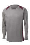 Vnt He Maroon Sport-Tek Long Sleeve Heather Colorblock Contender Tee as seen from the front