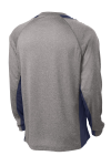 Vnt He Tr Navy Sport-Tek Long Sleeve Heather Colorblock Contender Tee as seen from the back