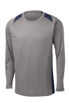 Vnt He Tr Navy Sport-Tek Long Sleeve Heather Colorblock Contender Tee as seen from the front