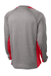 Vnt He Tr Red Sport-Tek Long Sleeve Heather Colorblock Contender Tee as seen from the back