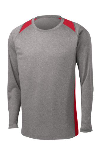 Vnt He Tr Red Sport-Tek Long Sleeve Heather Colorblock Contender Tee as seen from the front