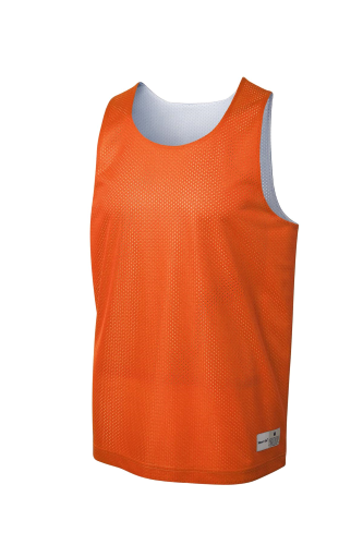 Deep Orange Wh Sport-Tek PosiCharge Classic Mesh Reversible Tank as seen from the front