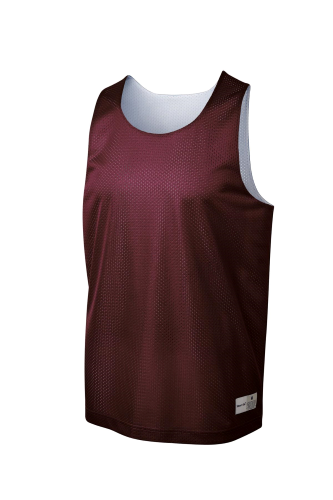 Maroon Wh Sport-Tek PosiCharge Classic Mesh Reversible Tank as seen from the front