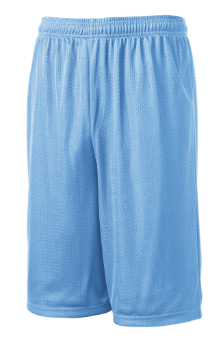 Carolina Blue Sport-Tek Extra Long PosiCharge Classic Mesh ™ Short as seen from the front